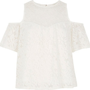 Cream lace cold shoulder top