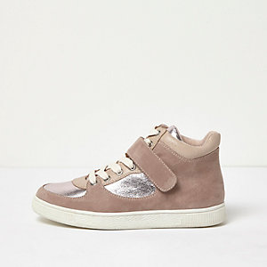 Pink wide fit textured panel hi tops
