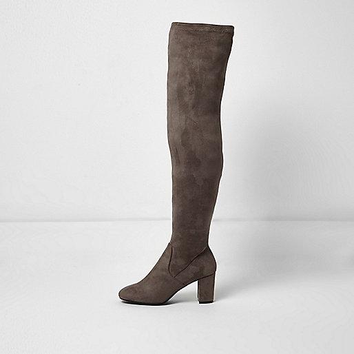 Grey over the knee block heel boots
