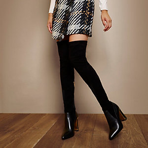 RI Studio contrast panel over-the-knee boots
