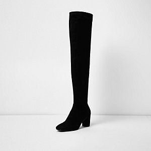 Black wide fit over-the-knee block heel boots