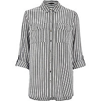 Dark grey stripe relaxed shirt
