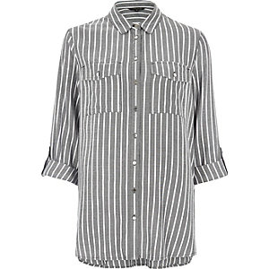 Dark grey stripe relaxed shirt