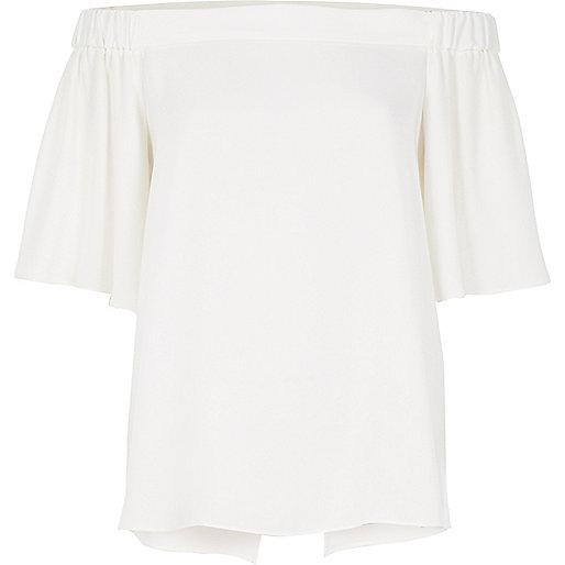 Weißes Bardot-Top