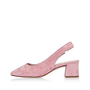 Pink suede slingback pumps