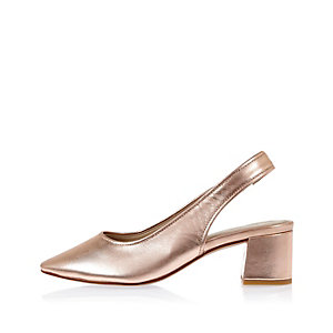 Rose gold leather slingback court shoes