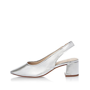 Silver leather slingback court shoes