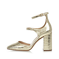 Gold croc strappy block heel shoes