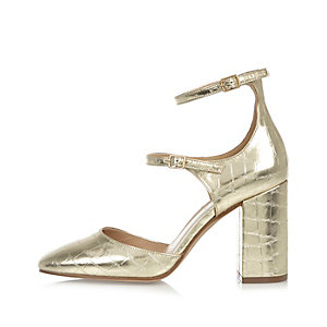 Gold croc double strap block heel shoes