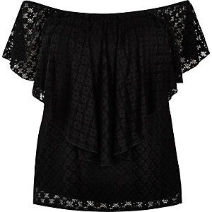 RI Plus black frill bardot top