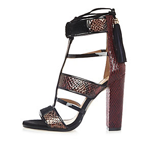 Dark red caged T-bar block heels