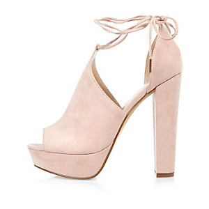 Pink suede block platform heels