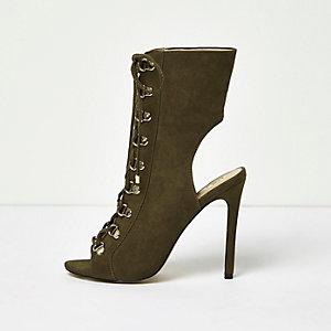 Khaki lace-up shoe boots