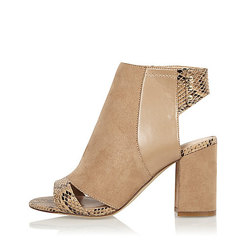 Nude print panel wide fit shoe boots