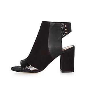 Black panel wide fit shoe boots