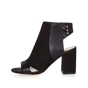 Black panel wide fit shoe boots