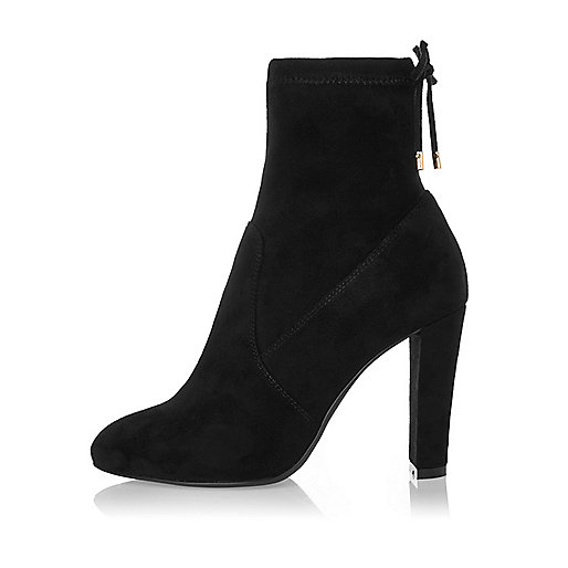 Black wide fit heeled sock boots