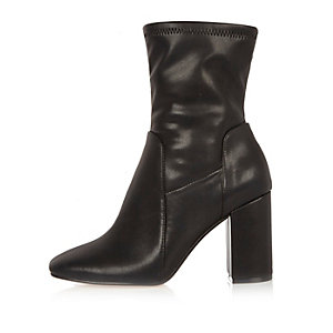 Black wide fit stretch ankle boots