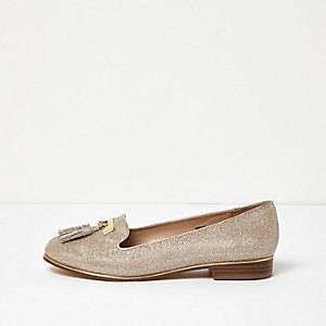 Gold metallic wide fit tassel loafers