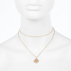 Rose gold tone layered choker necklace