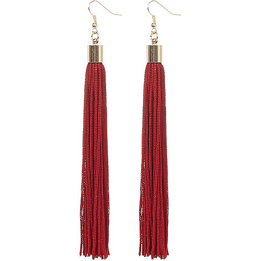 Red drop tassel earrings
