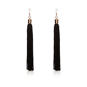 Black drop tassel earrings