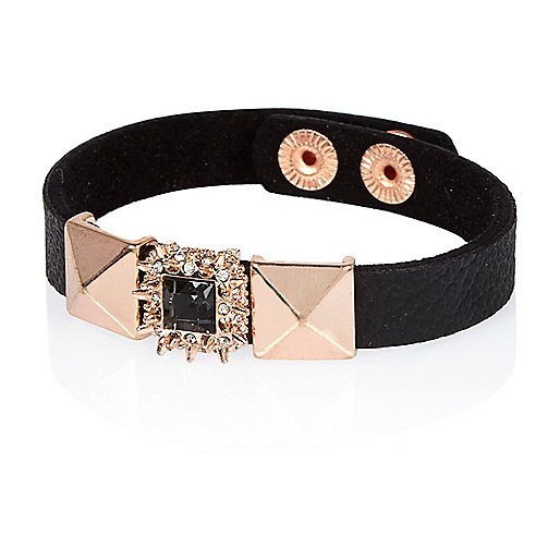 Rose gold tone leather cuff