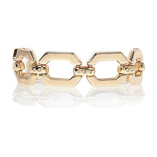 Gold tone link chain bracelet