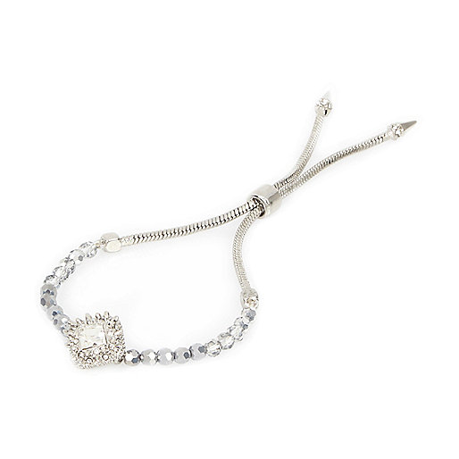 Silver tone toggle diamanté bracelet