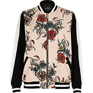 Pink floral print bomber jacket