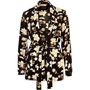 Black floral print belted jacket