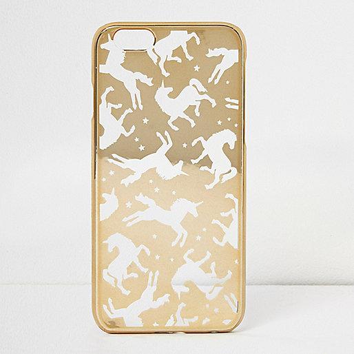 Coque motif licorne dorée pour iPhone 6