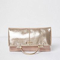 Gold lamé foldover clutch bag