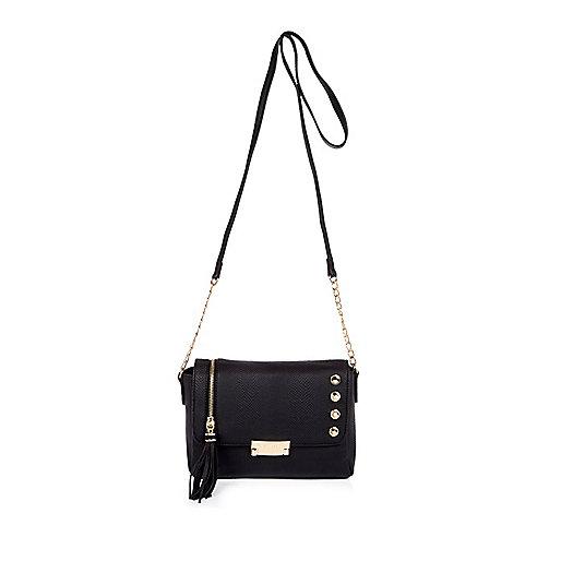 Black tassel cross body handbag