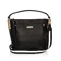 Black leather look bucket handbag