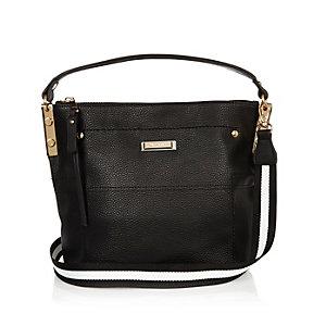 Black leather look bucket handbag