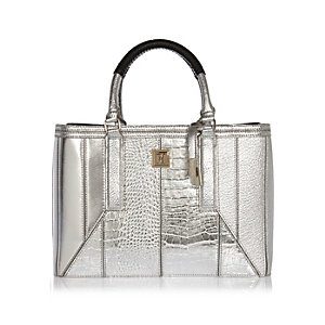 Silver structured tote handbag