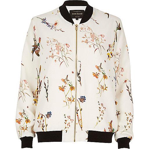 White floral print bomber jacket