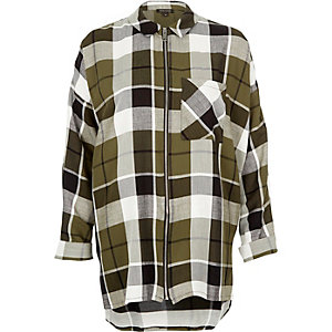 Khaki checked zip shirt