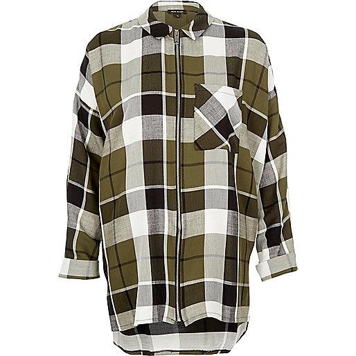 Khaki checked zip shirt