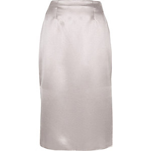 Silver satin pencil skirt