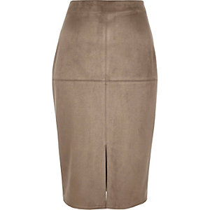 Brown faux suede pencil skirt