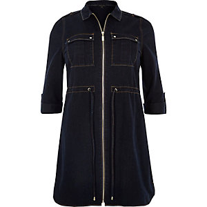 RI Plus navy denim shirt dress