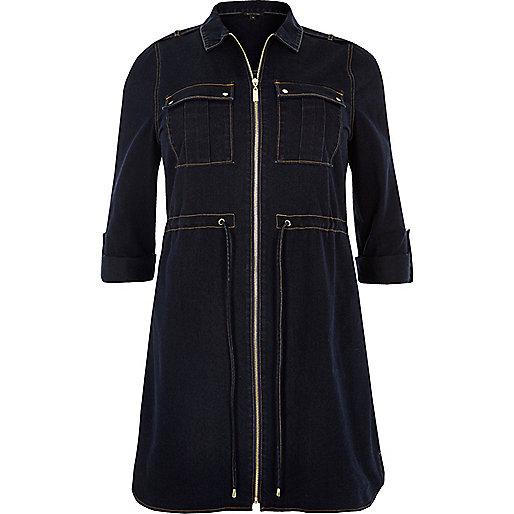 Robe chemise RI Plus en jean bleu marine