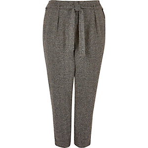 RI Plus dark grey soft tie tapered trousers