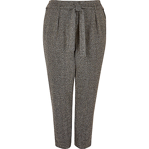 RI Plus dark grey soft tie tapered pants