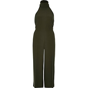 Khaki high neck jumpsuit