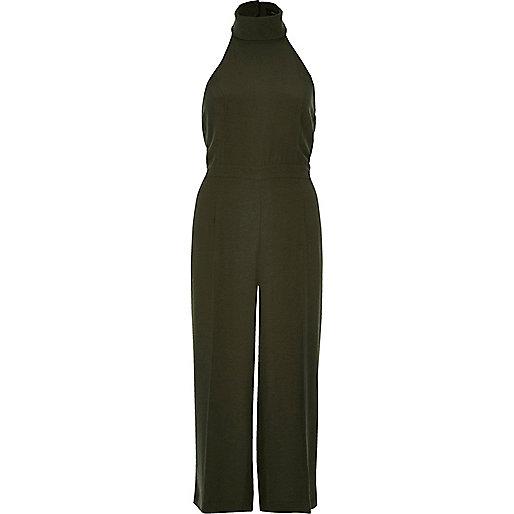 Khaki high neck jumpsuit