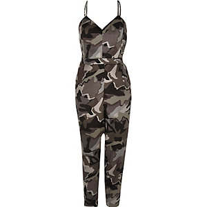 Grey camo cami jumpsuit