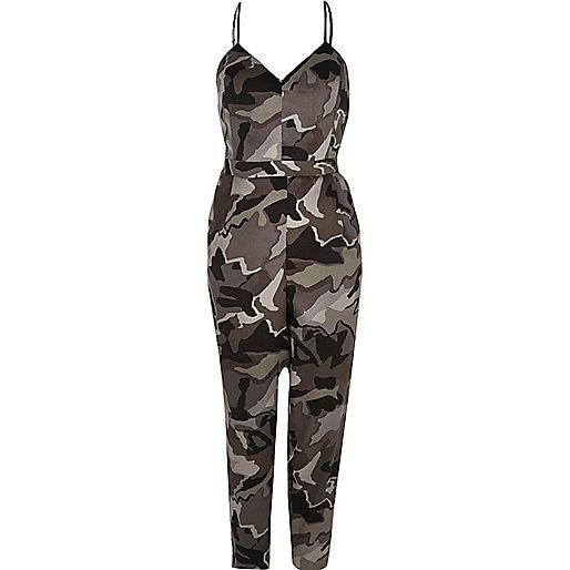 Combinaison camouflage grise à fines bretelles